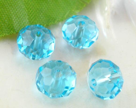 DoreenBeads стекло свободные бусины плоские круглые Голубое озеро прозрачный отшлифованный около 8 мм (3/8 «) Диаметр, отверстие: мм около 1,3 шт. мм, 15 шт