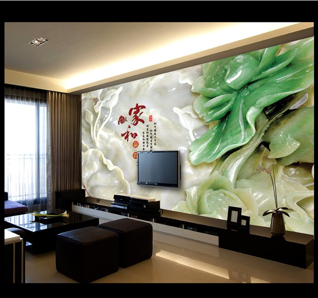 Customized wallpaper mural Chinese style 3D natural scenery with flower jade carving behind sofa as background in living room in Wallpapers from Home Improvement