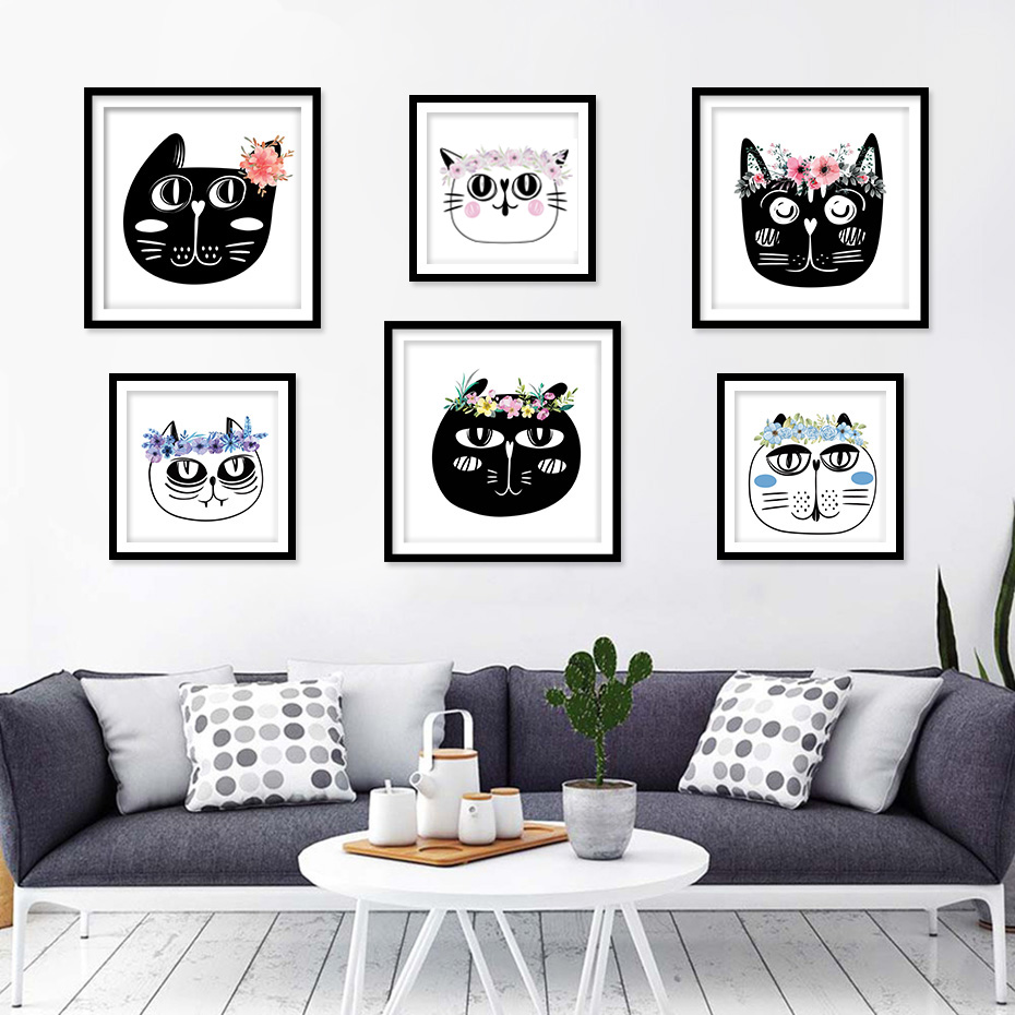 Nordic Style Kids Decoration Cat Head Canvas Painting Poster And Print Wall Decor Wall Picture For Living Room Home Decoration in Painting Calligraphy from Home Garden