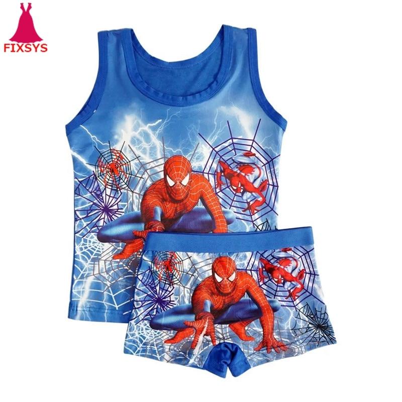 2019 Children's   Pajamas     Set   Summer Sleeveless Boys Pyjamas Spiderman Cartoon Kids Girls Sleepwear Vest Suit Boy Homewear Clothes