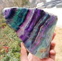 650 g Natural multicolor fluorite crystal original stone specimens slice