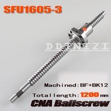 BallScrew SFU1605-3 1200mm vidalı C7 1605 flanş tek top somun ile BK/BF12 sonu işlenmiş ağaç işleme Makineleri Parçaları