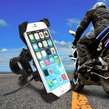 цена на Universal Cell Phone Mount Holder with USB Charger Mobile Phone Bracket Car Motorcycle Bicycle Smartphone Bracket Accessories