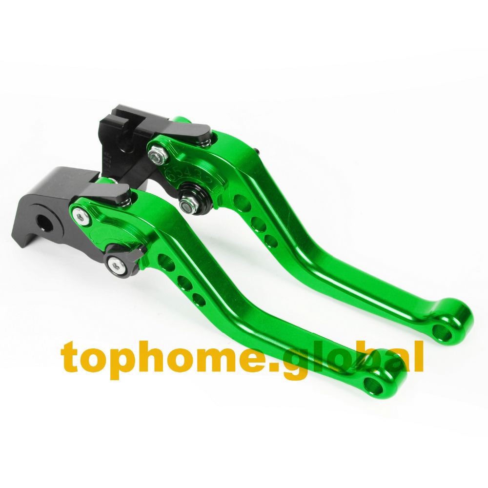 Motorcycle CNC Clutch Brake Levers For kawasaki ZZR250 1990-1993 1991 1992 Green&Black Handlebar Short Size Free Shipping  7 8 motorcycle protector handlebar brake clutch levers protect guard for kawasaki zzr250 zzr 250 zzr 250 90 00 01 05 06 07 08 09