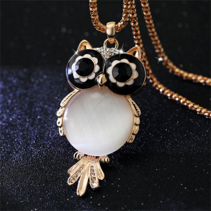 Нова марка мода прелести кристал бухал огърлица скъпоценни камъни циркон злато дълго верига огърлици и висулки жени
