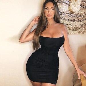 Image 4 - NewAsia przezroczyste ramiączka letnia sukienka 2019 kobiet głęboki dekolt siatka krótka Ruched obcisła sukienka kobieta nocna impreza seksowna sukienka klubowa Mini