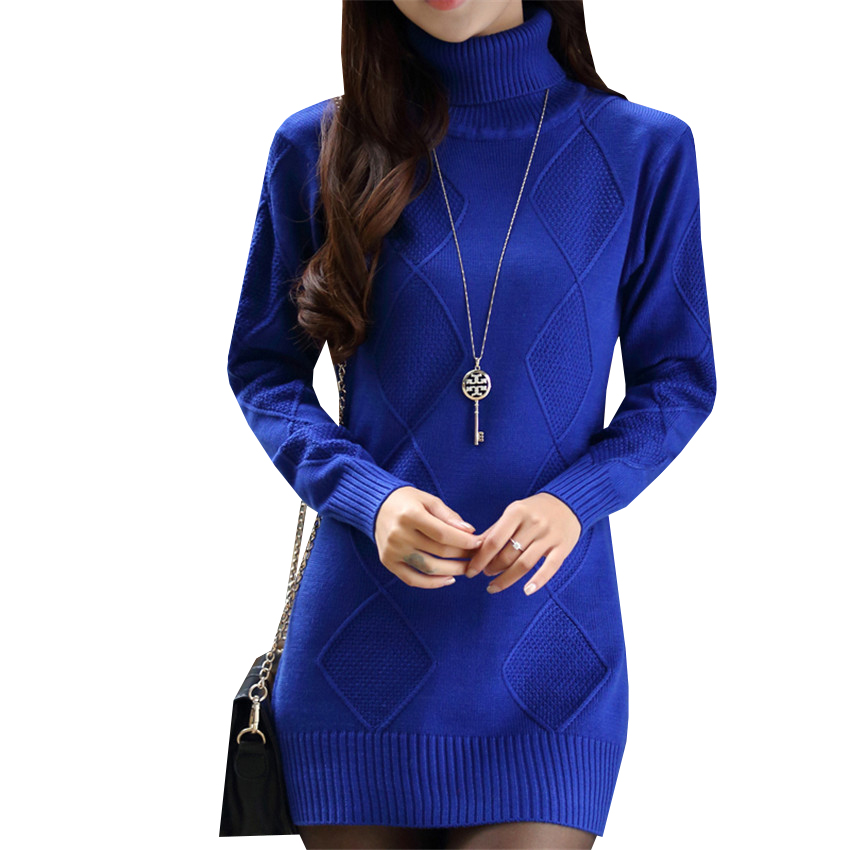 Women Turtleneck Sweater Dress New Autumn Winter Slim Pullovers Knitted Dresses Female Casual Mini Knitwear Vestidos Robes AB571 women turtleneck front pocket sweater dress