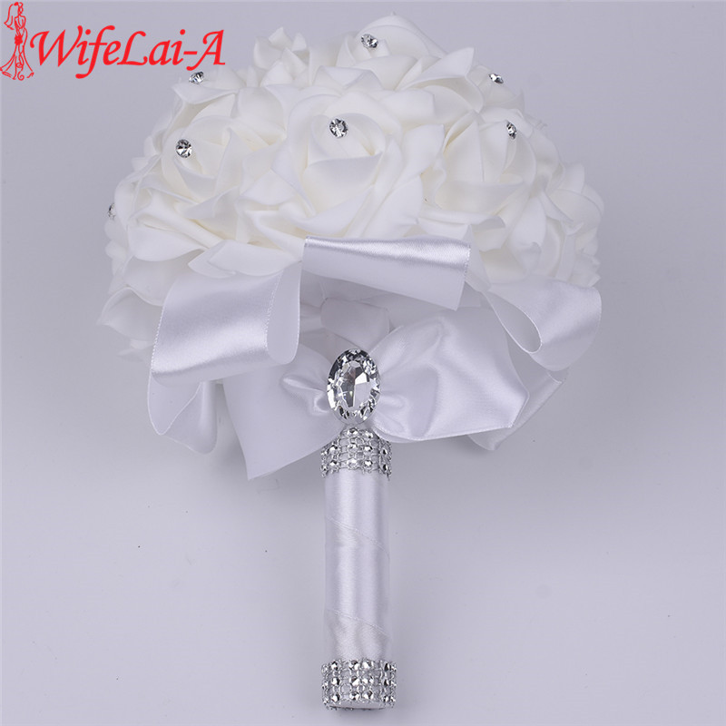 WifeLai-A 16 color 1 piece Hot Sale Bridesmaid Wedding Foam Flowers Rose Bridal bouquet Ribbon Fake Wedding bouquet de noiva wifelai a 16 color 1 piece hot sale bridesmaid wedding foam flowers rose bridal bouquet ribbon fake wedding bouquet de noiva