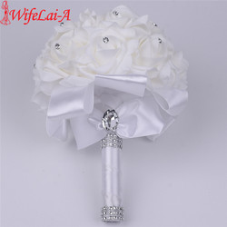 WifeLai-A 16 color 1 piece Hot Sale Bridesmaid Wedding Foam Flowers Rose Bridal bouquet Ribbon Fake Wedding bouquet de noiva