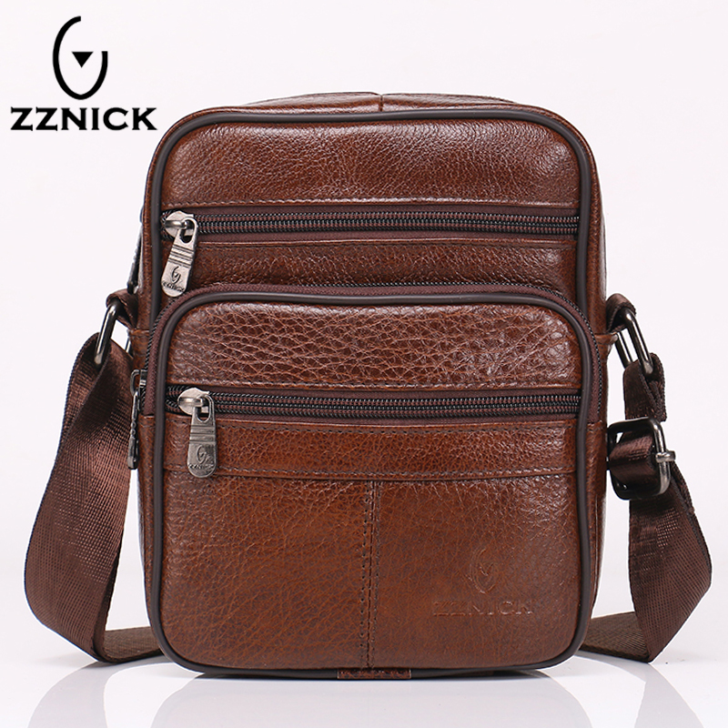 ZZNICK 100% Genuine Leather Men Bag Luxury Brand Designer Vintage Business Messenger Bags Shoulder Crossbody Bag Men Male Bag