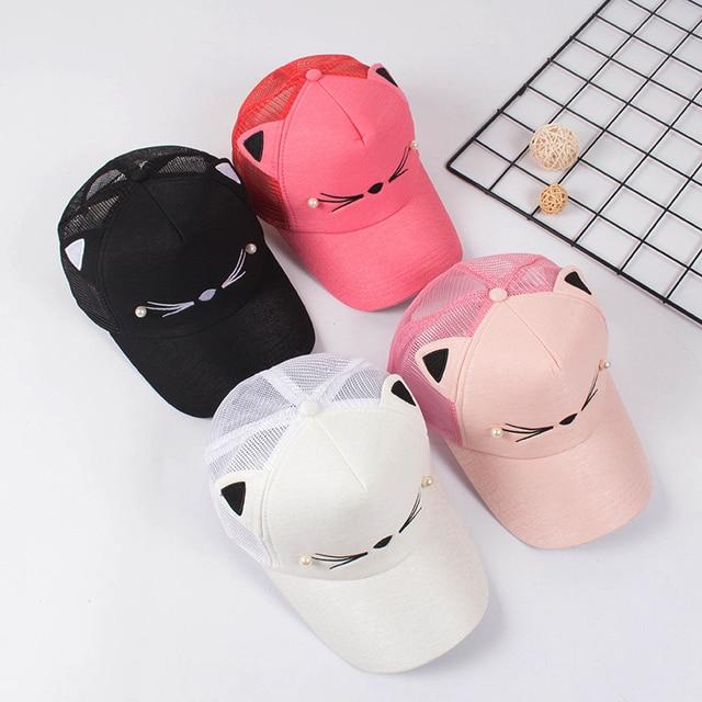Snapback Cute Cat Ears Pink Adult Net Baseball Cap Summer Women's hats 2018 Brand Lovely Cartoon Adjustable Girl Mesh Cap Gift 4