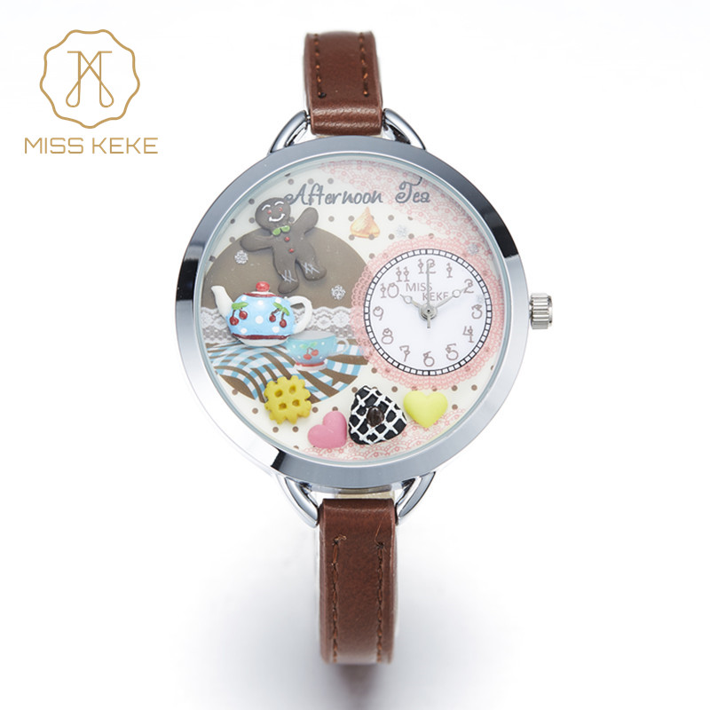 MISS KEKE Clay Cute Mini World Japanese Style Cookie Unique Teapot Gift Watch kids Children Quartz Leather Wristwatches 863 miss keke women watches 2017 clay 3d mini cute world city young pretty girl kids children watch pink pu strap wristwatches