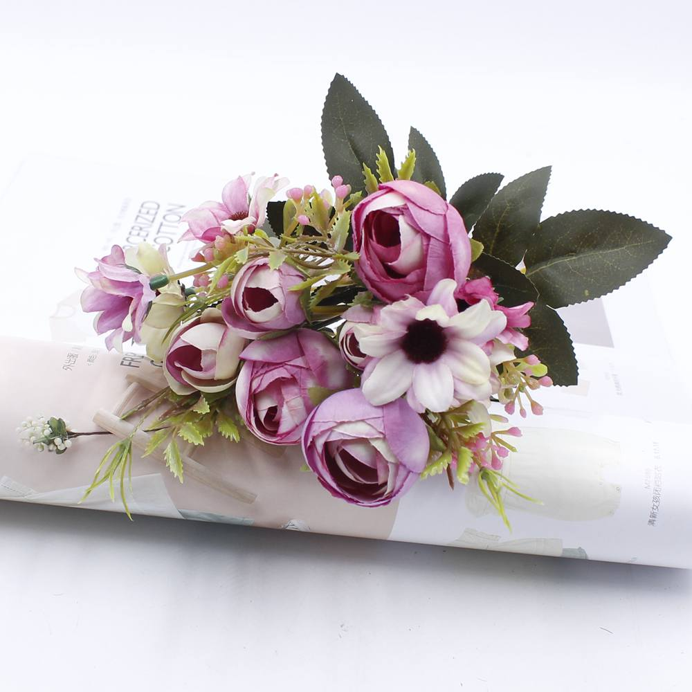 5 artificial flower bouquet cheap silk flower fall european small 5 artificial flower bouquet cheap silk flower fall european small tea bud fake leaf vases for wedding decoration party at home in artificial dried flowers izmirmasajfo