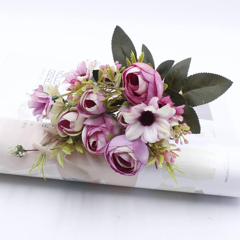 5 Artificial Flower Bouquet Cheap Silk Flower Fall European Small