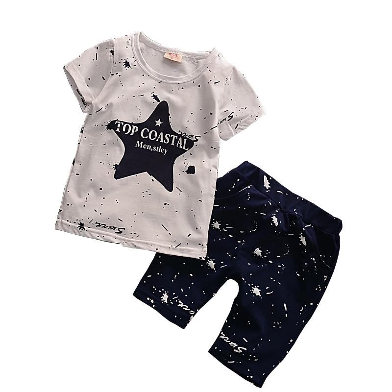 2018 Summer Baby Boys Clothes Sets Children Casual Clothing Suit Cartoon Star Boys Tshirt Top+ Shorts For Boy For 2 3 4 5 6 Yrs
