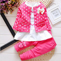 Girls Autumn Casual Clothes Set Children Long Sleeve Cartoon T-shirt +Pants+Coat casual Suits 2016 Girl Clothing Sets for Kids