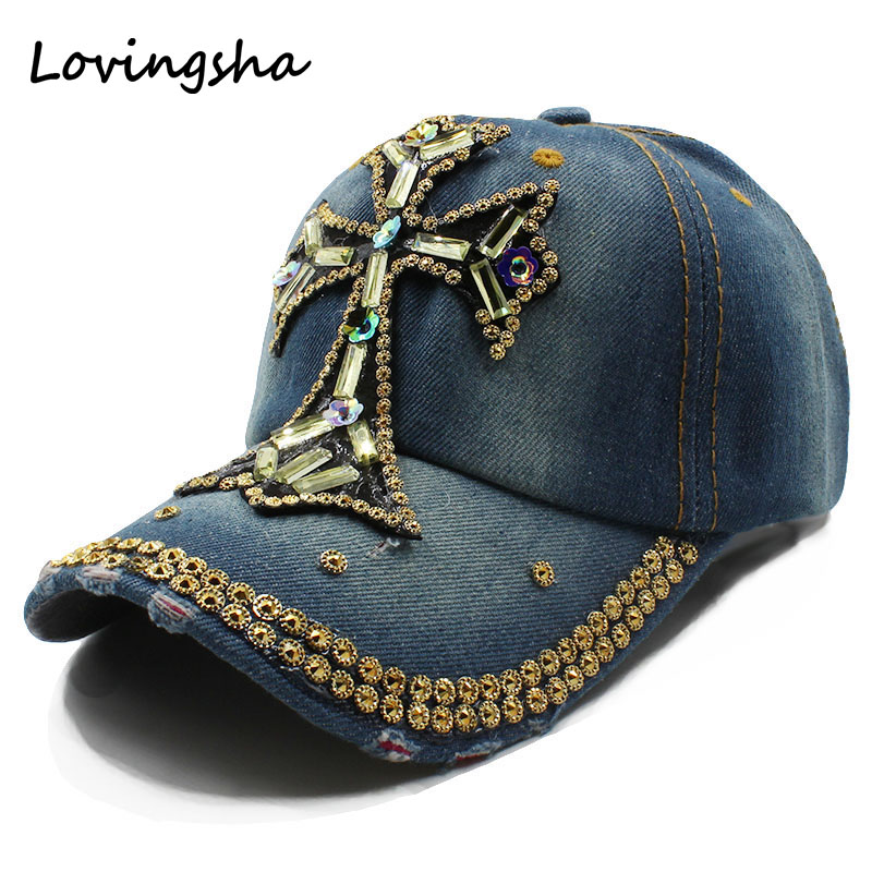 womens baseball hats with bling rhinestones women font cap fashion leisure crucifix design caps