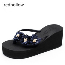 купить Slippers Woman Beach Flip Flops Shoes Summer Sandals Bohemia Slippers Platform Sandals High Heels Shoes Female Home Slippers New по цене 1042.08 рублей