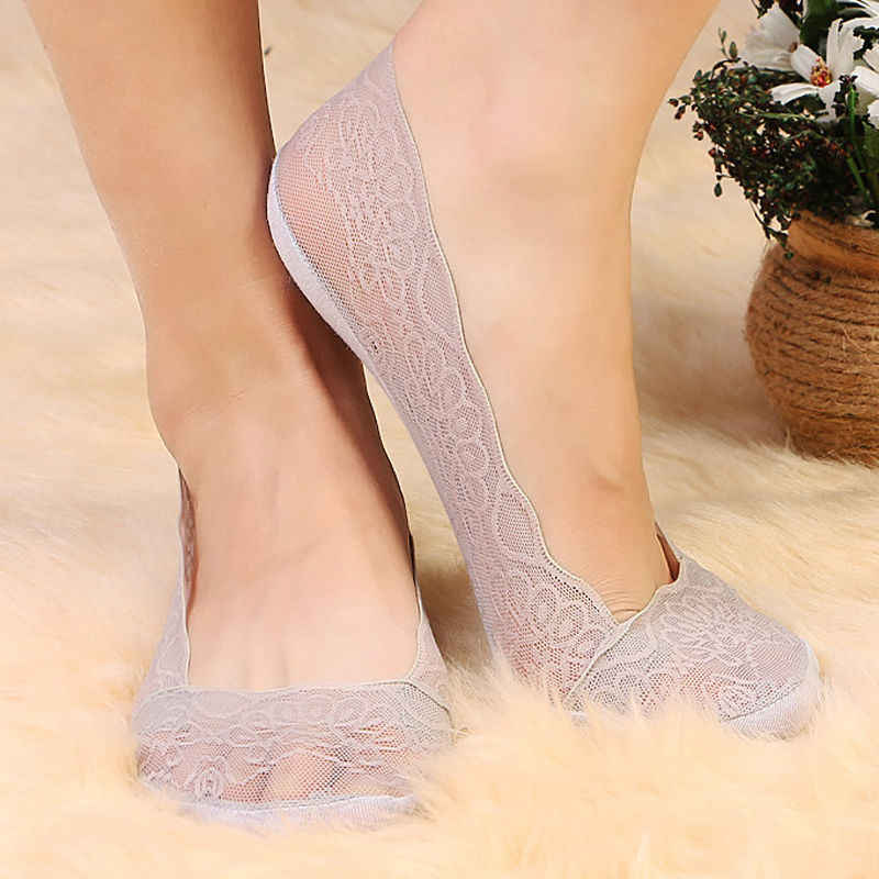 4Styles Fashion Women Sock Summer Lady Cotton Lace Short Ankle Female Antiskid Invisible Liner No Show Low Cut Socks women socks
