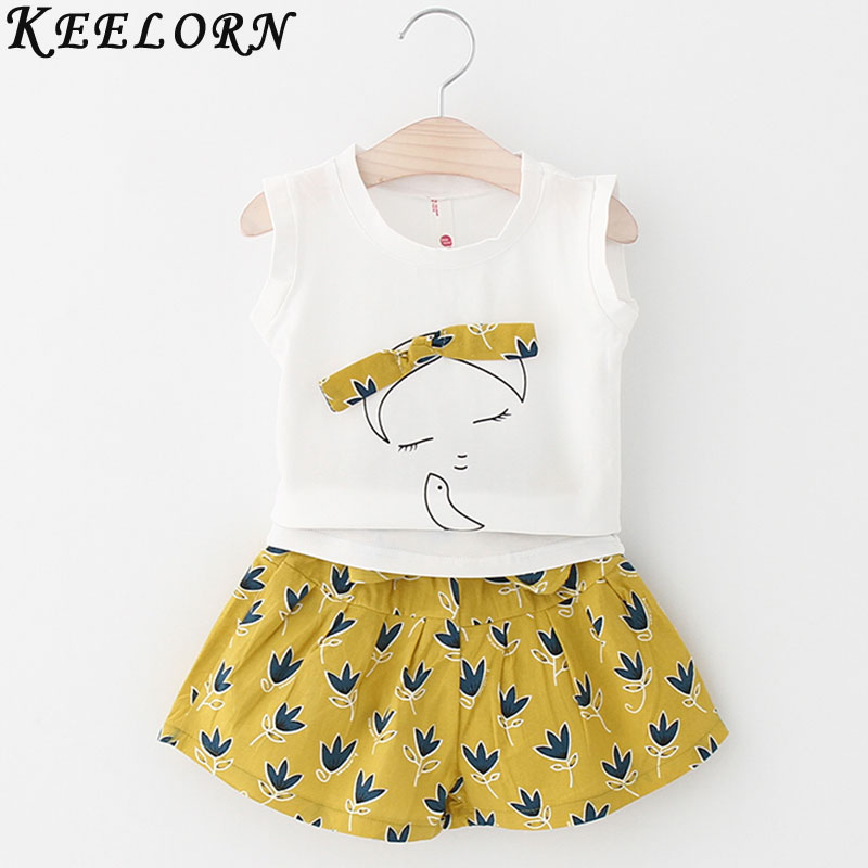 Keelorn Girls Clothing Sets 2017 New girls white t-shirt + flower print shorts clothing set cotton kids clothes sets for 3-7year charter club 2738 new womens white cotton henley top shirt petites ps bhfo