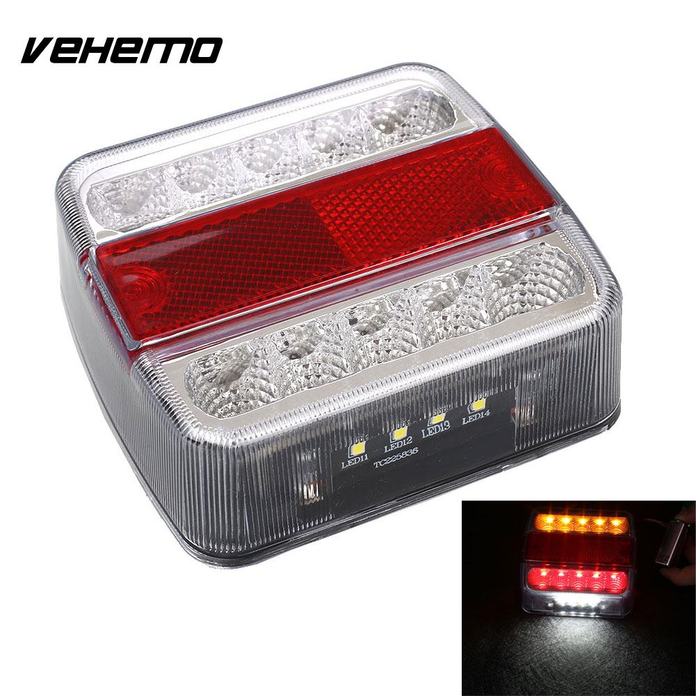 Vehemo 12V 10 LED Truck Car Trailer Boat Caravan Rear Tail Light Stop Lamp Taillight eonstime 2pcs 12v 16 led red white truck trailer boat stop turn tail light reverse light lamp waterproof