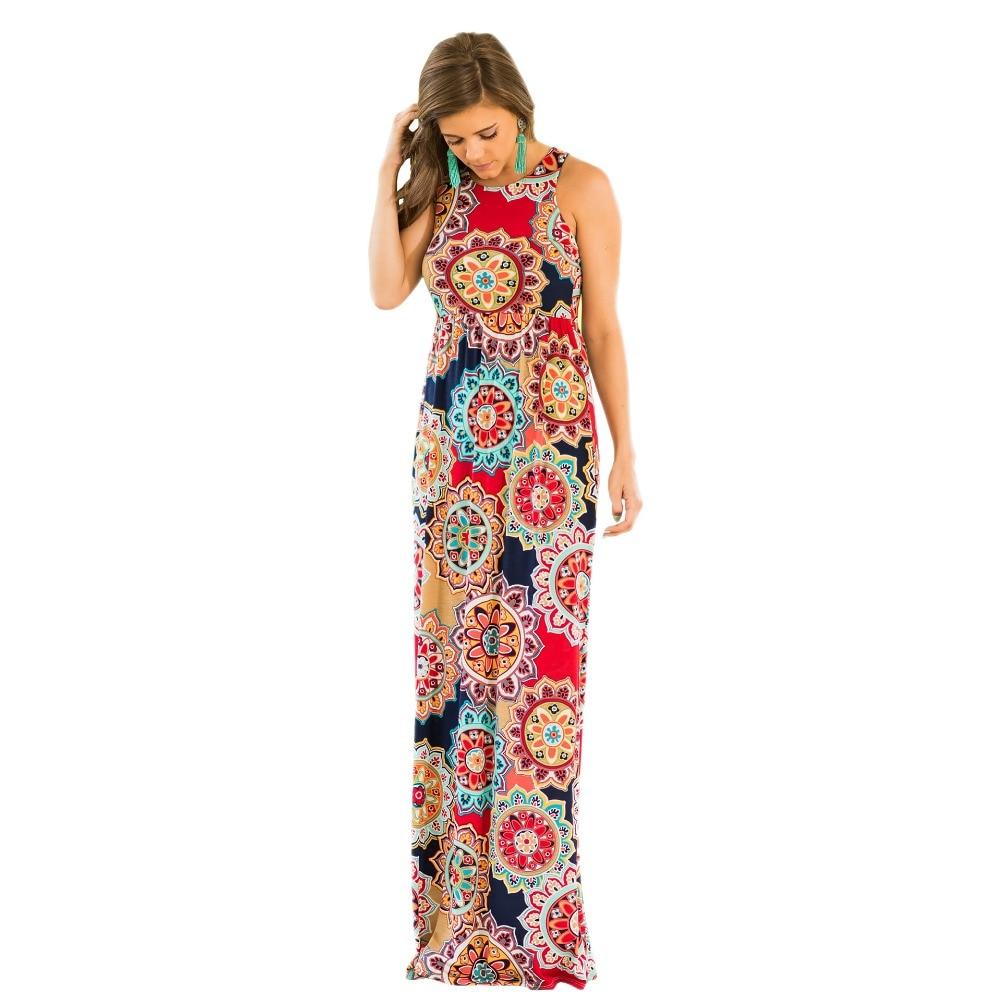 ac73de899dfe37d 2019 летние длинные Бохо платья женские без рукавов платье с принтом  винтажные женские Цветочные Макси платья