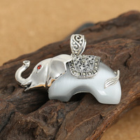 Sterling Silver Winter Sweater Chain Ty Silvery White Opal Elephant Pendant Female Restoring Ancient Ways
