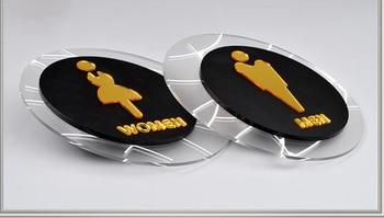 Round acrylic tolilet room man women sigage board sticker plate