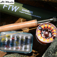 New high carbon fishing rod 2.7 m line wt 5 6# fly fishing rod combo set fly reel fishing line fly fishing