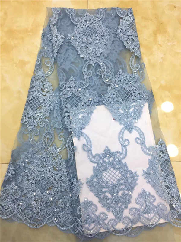 African sequins Lace Fabric 2018 High Quality Lace Material Wine French Lace Fabric Nigerian Tulle Mesh Lace Fabrics Sky blue