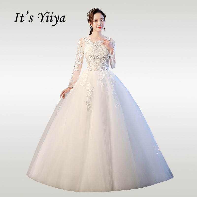 It's YiiYa Wedding Dress 2019 Elegant O-neck Lace Floor Length Wedding Dresses Half Sleeve Vestido De Novia Free Shipping XXN228