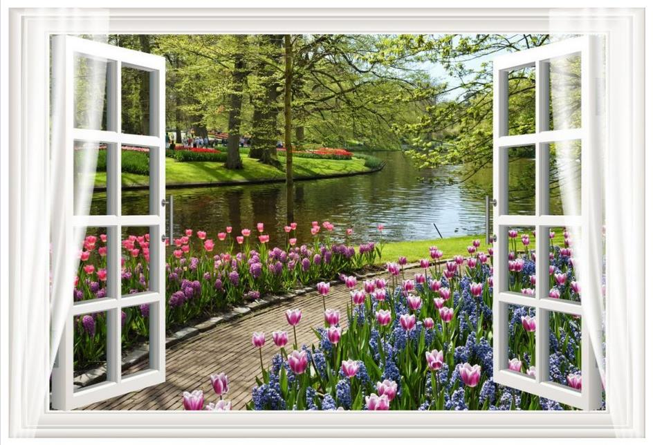 3d photo wallpaper Custom High end 3d murals wallpaper for walls 3 d Outside the flowers and trees of the landscape murals wall Обои