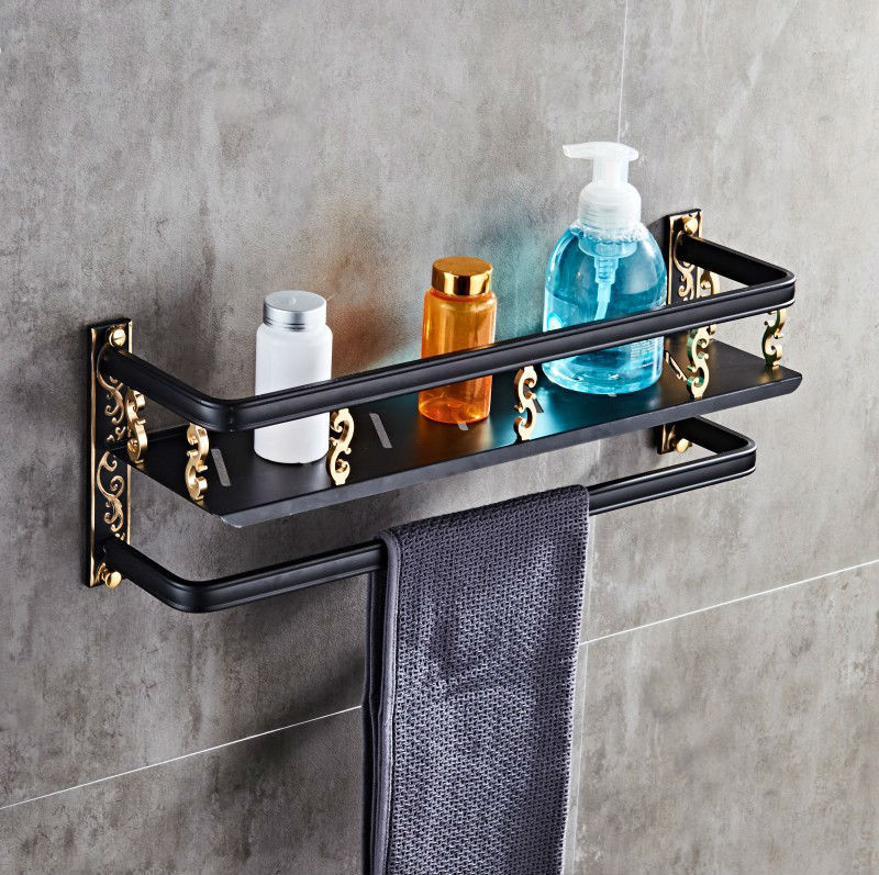AUSWIND American space aluminum black oiled gold carving double shelf with towel rack antique hanging multi-functional rack тарелка gold space home