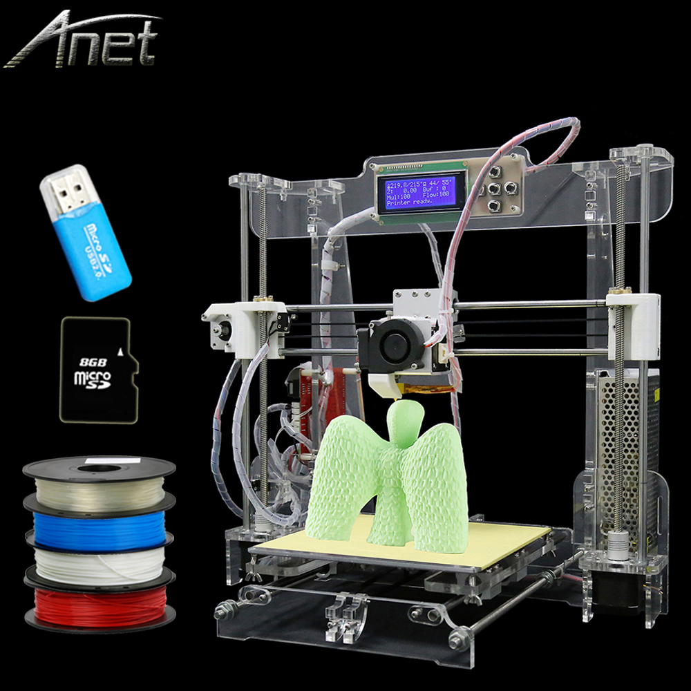 transparent and Black color Upgraded High Precision Reprap Prusa i3 DIY 3d Printer kit with 10M Filament 8GB SD card and LCD
