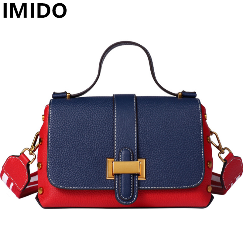 IMIDO Brand Design Genuine Cow Leather Women Handbags New Small Shoulder Crossbody Bag Women Messenger Bags Rivet Flap Handbag new women genuine leather handbags shoulder messenger bag fashion flap bags women first layer of leather crossbody bags