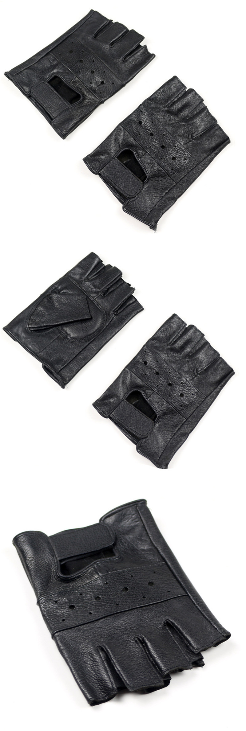HTB1dkW9NAzoK1RjSZFlq6yi4VXai - New Style Mens Sheep Leather Driving Gloves Fitness Gloves Half Finger Tactical Gloves Black Guantes Luva