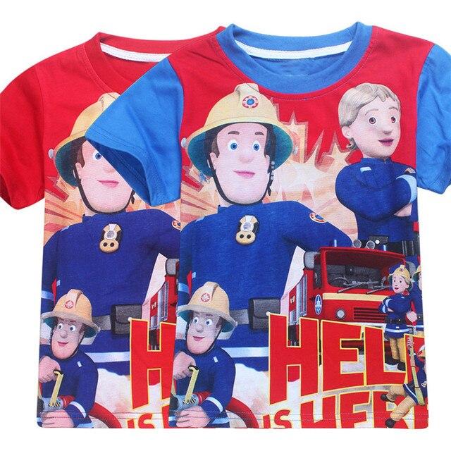 Ragazzi Kinderkleding.Maglietta Dei Ragazzi Del Cotone Manica Corta Fireman Sam Vestiti