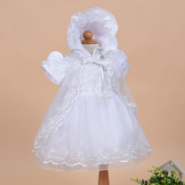 2017 Summer New Baby Dress Birthday Princess Cotton Dress White Baby Clothes Vest Baptism Dress Lovely Formal Costume SKF154703
