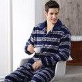 Mens inverno Quente Flanela Pijamas de Manga Comprida de Lã Grossa Set Lounge Sono Masculino Homewear Pijama Macio Pijamas Plus Size M-4XL