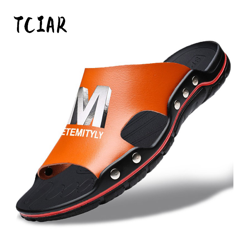 Plus Size Summer Slippers Outdoor Men Casual Sandals Beach Shoes Split Leather Non-Slip Flip Flops Mens Flats Euro 38-45 DR007