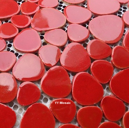 Ruby Red Pebble Ceramic Mosaic Tile For DIY Kithchen Shower Bathroom Wall Sticker Swimming Pool Garden Floor Wallpaper In Wallpapers From Home