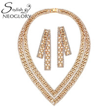 Neoglory Stylish Czech Rhinestone Jewelry Set Multi-Layer Necklace And Earrings Rose Gold Plated Vintage Style For Women 2016