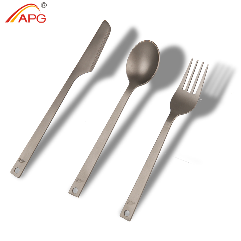 APG Portable 3 pcs Titanium Cutlery Knife Fork Spoon Camping Picnic Tableware Lightweight 49g Cookware Kit