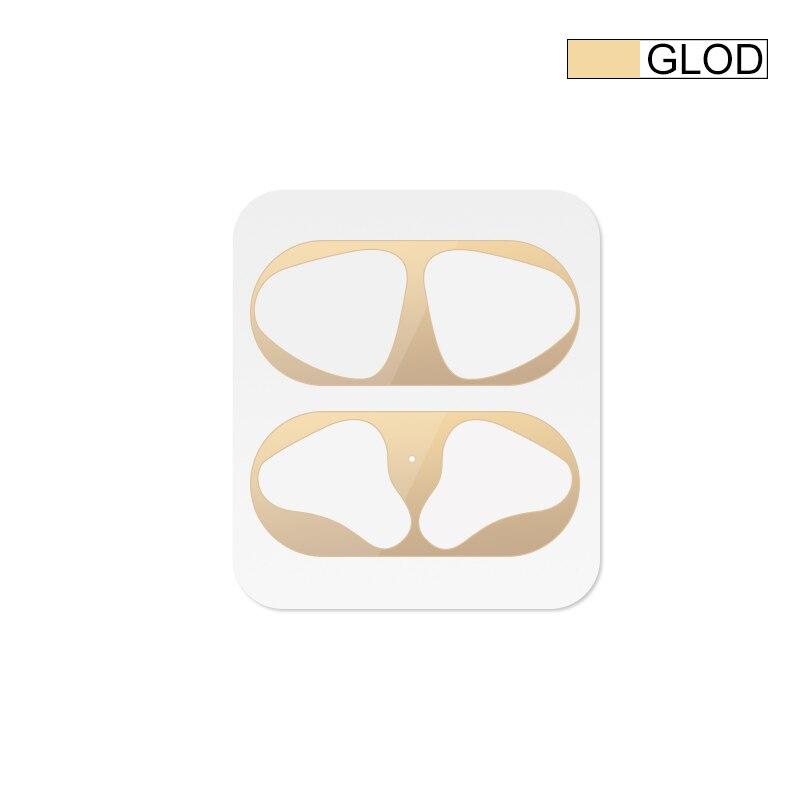 Металлическая Пылезащитная наклейка для Apple AirPods, чехол, Пыленепроницаемая защитная наклейка, защитная пленка для Air Pods, аксессуары - Цвет: Gold