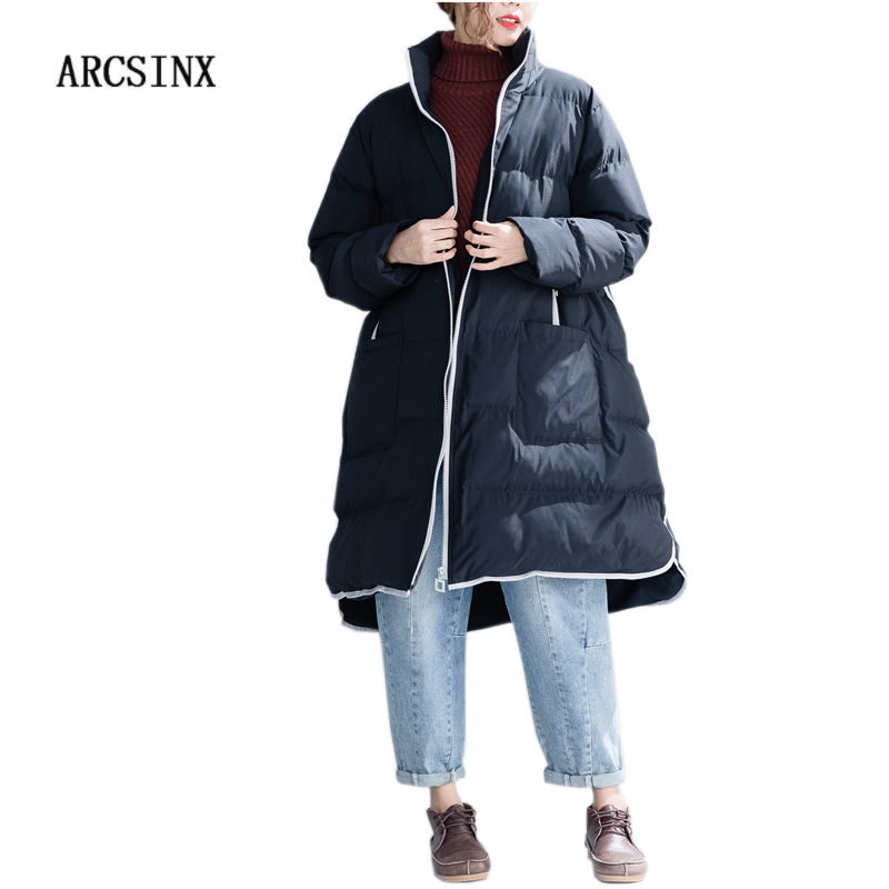 ARCSINX Winter Jacket Women Plus Size 6XL 5XL 4XL 3XL XXL Black Thicken Winter Coat Women Warm Casual Korean   Parka   Long Coat