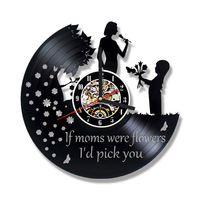 Happy Mother S Day 3D Vinyl Record Clock Wall Decor Hollow Round Creative Hanging Clock Unique