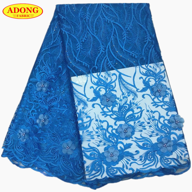 ADONG Latest 3D Applique Lace High Quality French voile Lace With Stone Beads African Lace Fabric