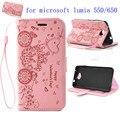 Lumia 650/550 Bling Диаманта Кожа Флип Телефон Case спс Microsoft Nokia Lumia 650/550 Роскошные Мультфильм PU + Силиконовые Задняя Крышка