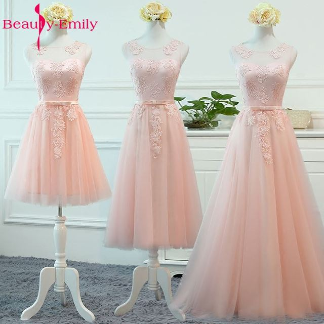 Beauty-Emily 2018 A-Line Off the Shoulder Bridesmaid Dresses Appliques Lace Up Formal Party Prom Dresses Homecoing Dresses