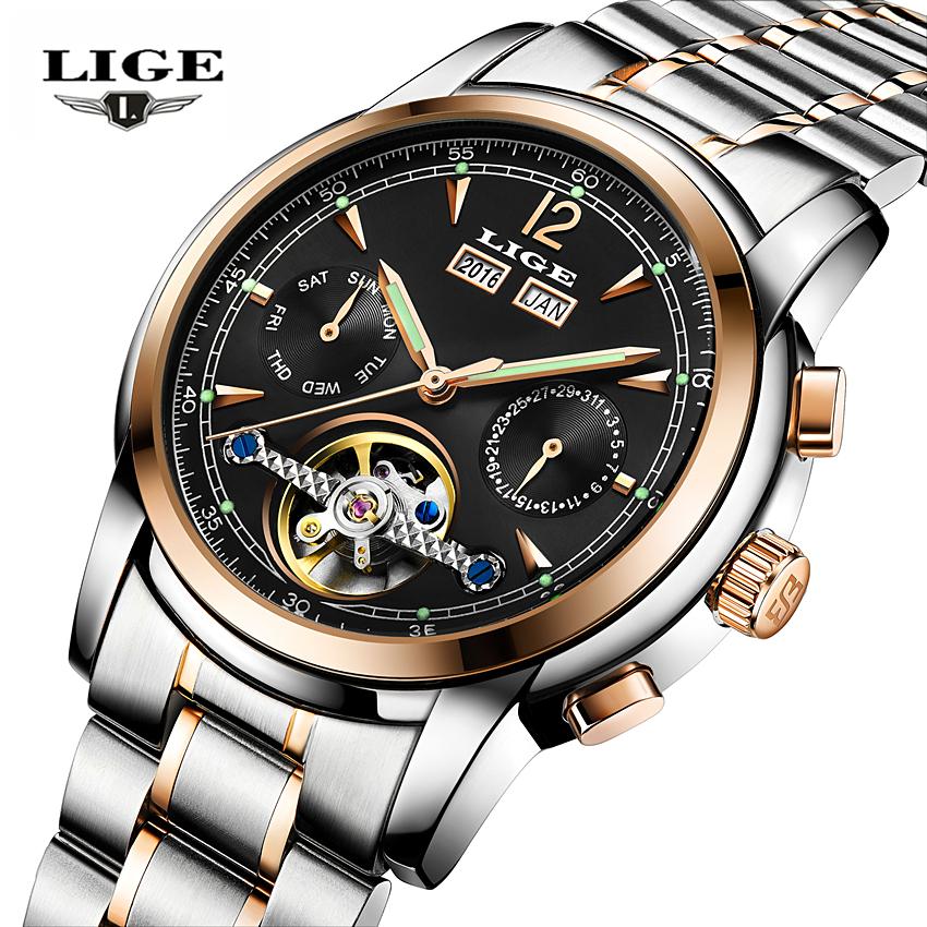 Prix pour Relojes Hombre LIGE Marque De Luxe Mens Automatique mécanique Montres Hommes d'affaires de la mode Casual Horloge Montre hommes Relogio Masculino